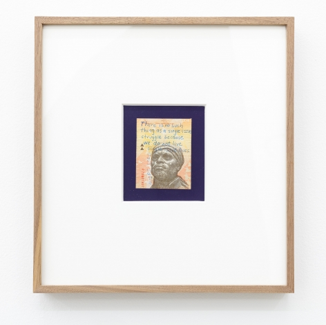 Group Show with Commonwealth and Council: Carolina Caycedo, Not a Single Issue/No hay cuestión única (2017). Marker on bank note, colored paper, frame, 13.5 x 12.5 x 1.5 inches (34.3 x 31.8 x 3.8 cm)