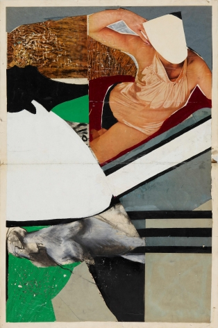 Untitled, c. 1960s.Acrylic, ink, paper and magazine collage on paper.34.84 x 22.44 inches(88.5 x 57 cm)