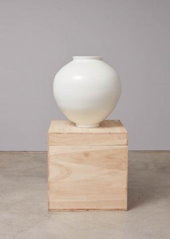 Minsoo Kang, 201709-3, 2017. White porcelain, firewood kiln. 23.03 x 22.76 inches (58.5 x 57.8 cm).,