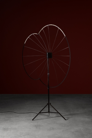 One Becoming Two, 2015 Steel, LED lights, light stand 88.19 x 54.33 x 32.28 inches 224 x 138 x 82 cm Dimensions variable,