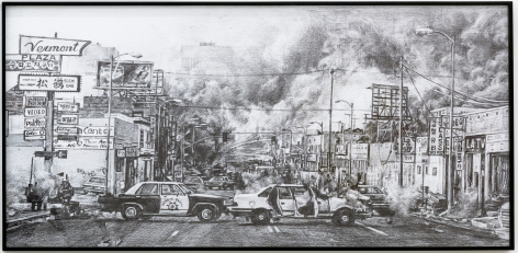 Group Show with Commonwealth and Council: Kang Seung Lee, Untitled (Aftermath) (2017). Inkjet, frame, 32.75 x 66.75 x 2 inches (83.2 x 169.5 x 5.1 cm)