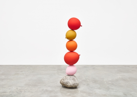 Gimhongsok (b. 1964), Untitled (Short People) , Red, Gold, Orange, Red, Pink, 2018, Cast bronze, stone, Sculpture, 50.59 x 14.96 x 15.75 inches 128.5 x 38 x 40 cm, Gimhongsok: Dwarf, Dust, Doubt at Tina Kim Gallery