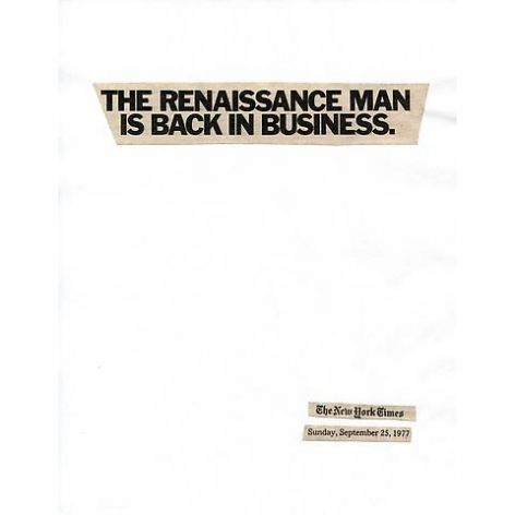 Lorraine O'Grady; Cutting Out the New York Times, The Renaissance Man is Back in Business (1977/2010)