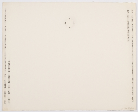 Luis Camnitzer, En este borde es 0000041351351, 1973, Graphite on paper