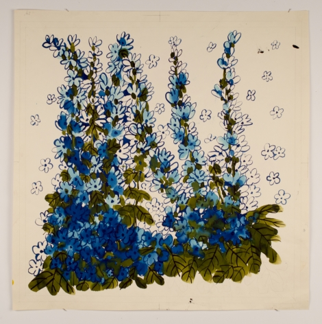 "Delphiniums, from the ""Florals"" series [052], c. 1973, Watercolor On Paper"