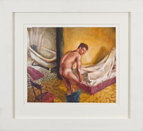 Bedtime, 1990, Oil on gessoed paper