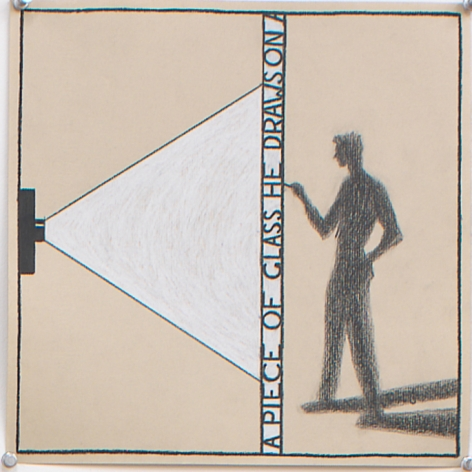 He Draws on a Piece of Glass, 1997, Pencil on paper