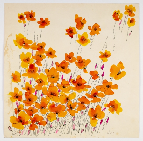 "Island Poppies, from the ""Florals"" series [001], c. 1973, Watercolor On Paper"
