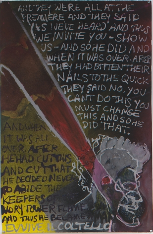 Evvive il Coltello, 1985, Acrylic with mixed media on paper