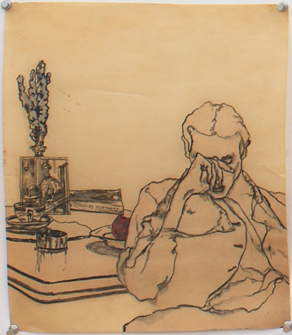 Self Portrait with Book, 1978, Graphite on paper
