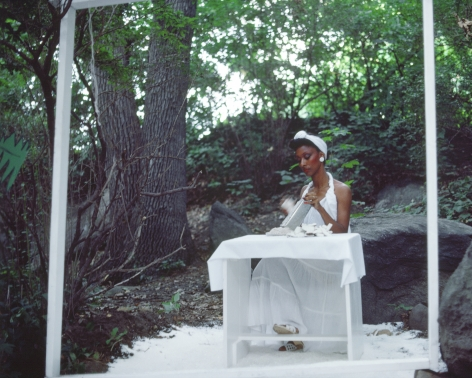 Rivers, First Draft: The Woman in White continues grating coconut, 1982/2015, Digital C-print in 48 parts,16h x 20w in (40.64h x 50.80w cm)