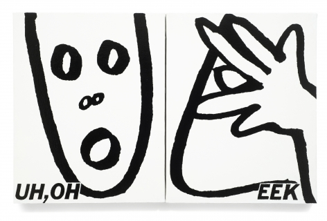 Uh Oh Eek, 1986, Sign paint on canvas