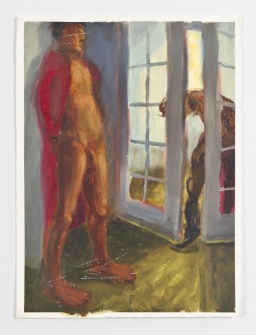 French Doors, 1988, Oil on gessoed paper