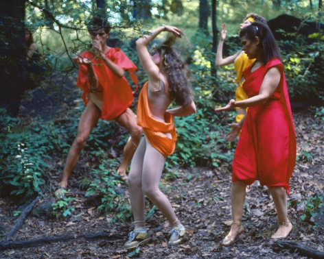 Rivers, First Draft: The Debauchees dance in place, and the Woman in Red catches up to them, 1982/2015, Digital C-print in 48 parts,16h x 20w in (40.64h x 50.80w cm)