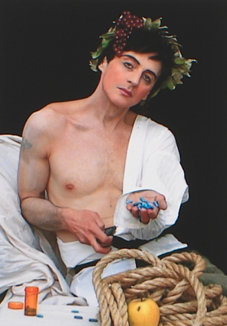 "Self Portrait after Caravaggio's ""Bacchus"", 2007, Archival digital print on canvas, 19h x 13w in (48.26h x 33.02w cm)"