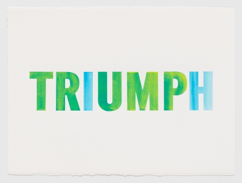 Triumph Over Trump (Blue Over Yellow), 2017, Acryla gouache on watercolor paper
