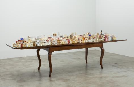 Finale (2013) Antique table, mirror, antique glasses and liquor