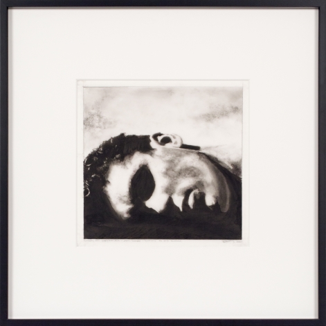 Robert Longo, Study for Ozymandias (Reclining Head), 2004, Ink and charcoal on vellum