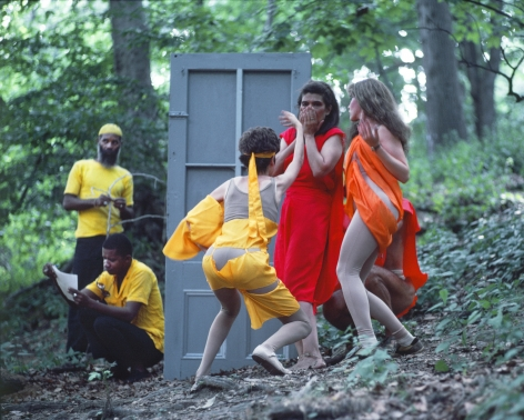 Rivers, First Draft: The Artists in Yellow work on their projects as the Woman in Red struggles with the Debauchees, 1982/2015, Digital C-print in 48 parts,16h x 20w in (40.64h x 50.80w cm)