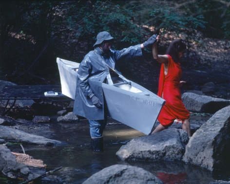 Rivers, First Draft: The Nantucket Memorial guides the Woman in Red to the other side of the stream, 1982/2015, Digital C-print in 48 parts,16h x 20w in (40.64h x 50.80w cm)