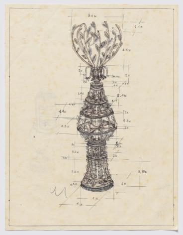 Serie Máquinas Inútiles. Lámpara, 1974, Pen on paper