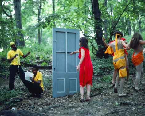 Rivers, First Draft: The Woman in Red goes to the Black Male Artists' door and the Debauchees dance back up the hill, 1982/2015, Digital C-print in 48 parts,16h x 20w in (40.64h x 50.80w cm)