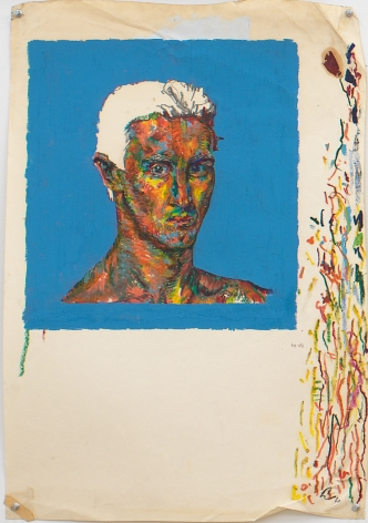 Self Portrait after Van Gogh, 1979, Oil, oil pastel and graphite on paper