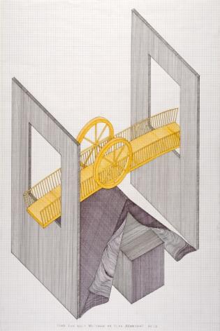 Tomb for Walt Whitman, 2012, Felt pen on graph paper