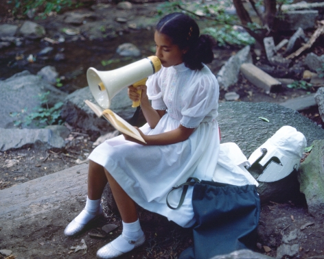 Rivers, First Draft: A Little Girl with Pink Sash memorizes her Latin lesson, 1982/2015