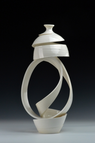 Ceramic work by Michael Boroniec titled Spatial Spiral Ribbon 2 white ceramic spiral vessel