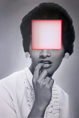 James Rieck black and white painting titled Mostly Psychological cut out portrait of black female in white frilly blouse finger to her mouth, holding a telephone, facial features are cut from the painting