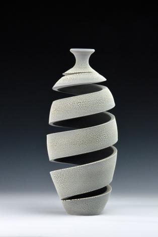 Ceramic vase sculpture by Michael Boroniec tilted Spatial Spiral; Crawl II, 2019, Earthenware with black, white and gray crackle glaze measuring 14.5 x 6.25 x 6.25 inches