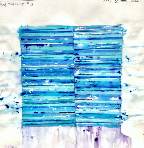 Mark Zimmermann blue stripped abstract work on paper acrylic and graphite12 x 12 inches