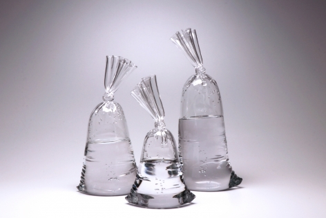 hyperreal glass water bag sculptures by Dylan Martinez