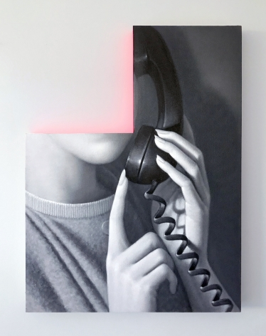 James Rieck black and white painting titled One Moment cut out portrait of female holding a telephone, facial features are cut from the painting