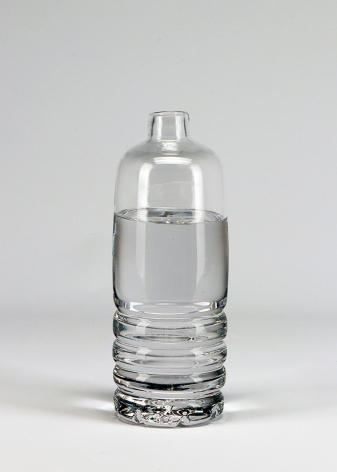 glass sculpture by Dylan Martinez titled Water Bottle, 2020, Hollow & solid sculpted glass, 8 x 3 x 3 inches imagery plastic water bottle