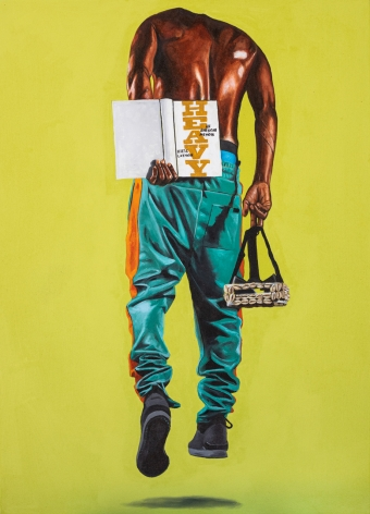 Painting by Fahamu Pecou measuring 40 x 28 inches featuring a shirtless African American male figure hovering above the ground
