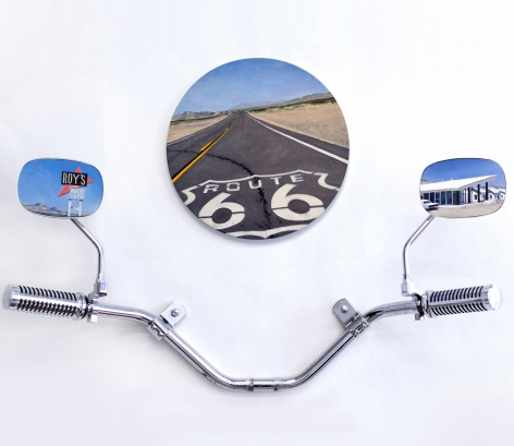 Amboy, Route 66 (triptych),2017, Oil on panel, BMW® motorcyle mirror housing, chrome, rubber, handle bar