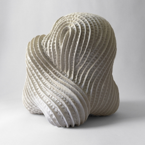 Untitled ceramic by Janny Baek (Pleated white porcelain sculpture)