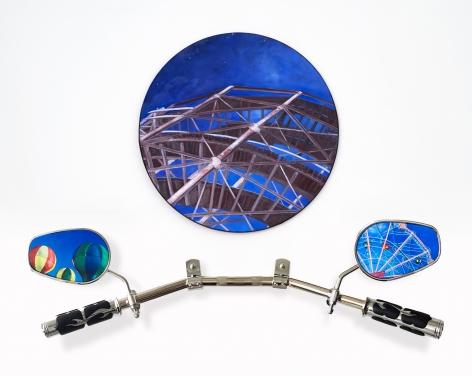 Luna Park, Coney Island, BK, 2019, Oil on canvas & panel, chrome drag bars, chrome & rubber grips, rubber trim