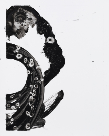 Black and white circular gestural abstract painting titled Lotan IV by Christopher Rico