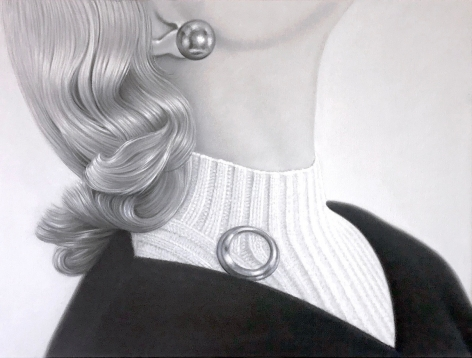 James Rieck black and white painting titled Charming Dickie side portrait of female in white turtleneck and brooch pinned to sweater