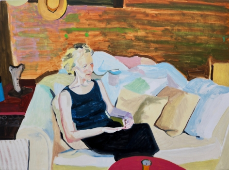 Chelsea Gibson painting titled Kaima's Back Porch with Candle and Hat, 2020, Oil on panel 15 x 20 inches imagery caucasian women sitting on earth toned sofa with pillows and red coffee table