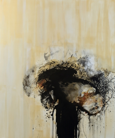 Yellow and black abstract ink and acrylic painting by Christopher Rico