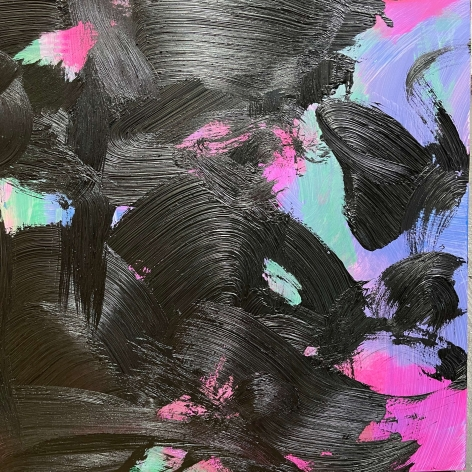 James Austin Murray square undercolor painting titled Undercolor 5/15-06 in black, blue pink and green, 30 x 30 inches