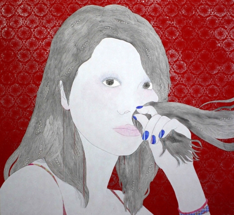 Kaoruko painting titled Aroma Hair, 2012, Acrylic and silver leaf on canvas, 52 x 56 inches imagery portrait of caucasian girl sniffing her hair