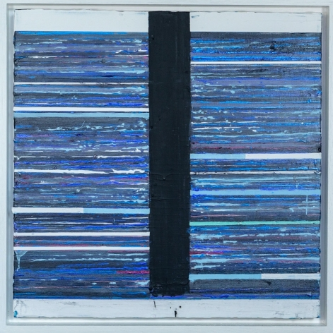 Mark Zimmermann blue striped abstract painting titled Centuriata, acrylic and graphite on canvas in artist frame, 22 x 22 inches framed