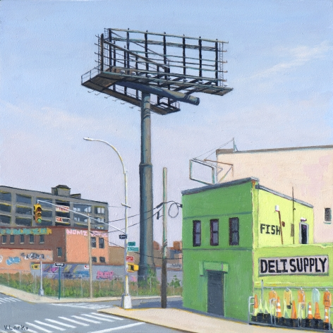 Valeri Larko painting titled Sign of the Times II (Fish), 2018, oil on panel, 10 x 10 inches imagery urban landscape featuring blighted green building and the skeleton of an abandoned billboard