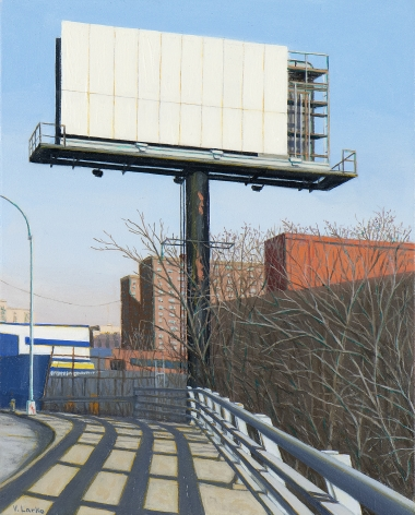 Valeri Larko painting titled Sign of the Times VII (Bruckner Blvd), 2019, oil on panel, 10 x 8 inches imagery urban landscape featuring sidewald with guardrail and the skeleton of an abandoned billboard