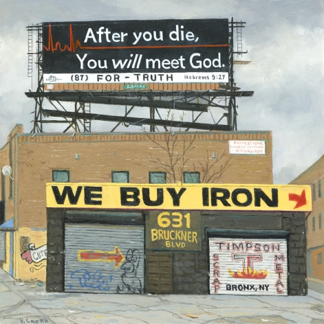 Valeri Larko painting titled Sign of the Times XIV (After You Die), 2019, oil on panel, 10 x 10 inches